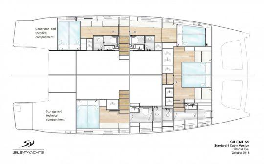 Le plan d'aménagement des cabines du Silent Yachts 55.