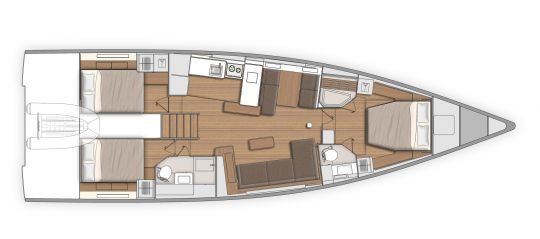 Plan d'aménagement du First Yacht 53 version 2 salles de bain