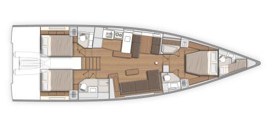 Plan d'aménagement du First Yacht 53 version 3 salles de bain