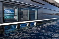 The semi-submerged lounge of the superyacht Elandess
